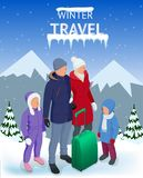 Trip on a winter vacation in the mountains. Winter travel concept. Christmas travel. Travel to World. Banner, Journey. Illustration Royalty Free Stock Photos