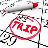 Trip Word Circled Calendar Travel Plan Royalty Free Stock Photography