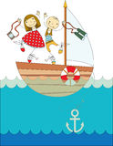 Trip on a yacht. A boy and a girl traveling on a yacht on the sea Stock Photography