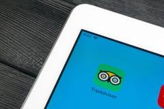 Tripadvisor applikationsymbol på närbild för Apple iPadpro-skärm tripadvisor symbol för com app anslutningar för begrepp för tavl arkivbilder