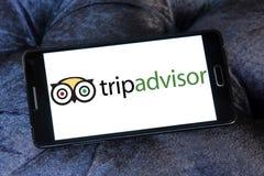 TripAdvisor company logo. Logo of TripAdvisor company on samsung mobile. TripAdvisor is an American travel and restaurant website company providing hotel and Stock Images