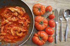 Tripe in pan with tomato sauce. Roman style tripe or tripe in pan with tomato sauce stock image
