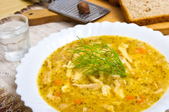 Tripe soup. Traditional polish tripe soup with dill stock photo