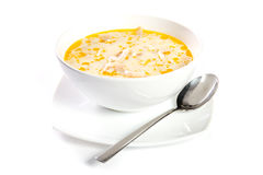 Tripe soup. In a white bowl stock photography
