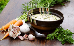 Tripe soup with garlic. A delicious tripe soup with garlic stock photography