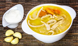 Tripe soup. Hot tripe soup served with garlic cloves and cream stock image