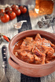 Tripe soup with tomatoes. Selective focus Royalty Free Stock Photos