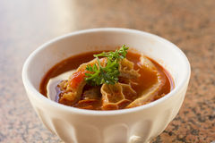 Tripe Trippa Alla Roma. Trippa Alla Roma Tripe soup with red tomato sauce and parsley royalty free stock photos