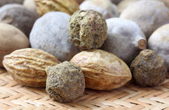 Triphala, a combination of ayurvedic fruits Stock Photos