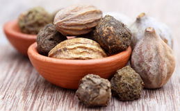 Triphala, a combination of ayurvedic fruits Royalty Free Stock Photography