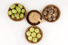 Triphala (thai name) as well as the fruit of three medicines. Royalty Free Stock Photography