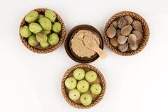 Triphala (thai name) means three fruits contain Terminalia belerica (Gaertn.) Roxb.), Terminalia chebula Retz. and Phyllanthus emb Royalty Free Stock Photo