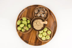 Triphala (thai name) means three fruits contain Terminalia belerica (Gaertn.) Roxb.), Terminalia chebula Retz. and Phyllanthus emb Royalty Free Stock Image