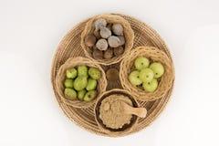 Triphala (thai name) means three fruits contain Terminalia belerica (Gaertn.) Roxb.), Terminalia chebula Retz. and Phyllanthus emb Royalty Free Stock Photography