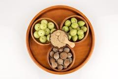Triphala (thai name) means three fruits contain Terminalia belerica (Gaertn.) Roxb.), Terminalia chebula Retz. and Phyllanthus emb Royalty Free Stock Image