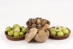 Triphala (thai namn) såväl som frukten av tre mediciner Arkivbild