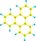 Triphenylene molecule structural model on white Royalty Free Stock Photography