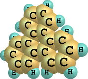 Triphenylene molecule structural model on white Royalty Free Stock Images