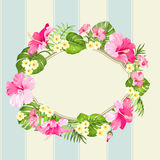 Tripical floral wreath. Royalty Free Stock Photography