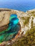 Tripito, arco delicado da rocha, ilha de Paxi fotos de stock royalty free