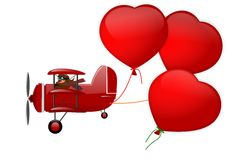 Triplane and three hearts on a white background Royalty Free Stock Photo
