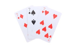 Triple 7 poker cards royalty free stock images