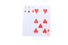 Triple 7 poker cards Stock Photography