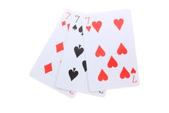 Triple 7 poker cards royalty free stock image