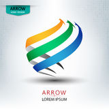 Triple arrow logo design round shape vector. Illustration Stock Images