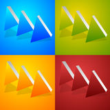 Triple, 3 arrows in more colors. Locate, fast forward, fastness Stock Image