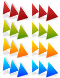Triple, 3 arrows in more colors. Locate, fast forward, fastness Royalty Free Stock Image