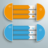 2 Triple Banners Half Circles. Infographic design on the grey background Stock Photography
