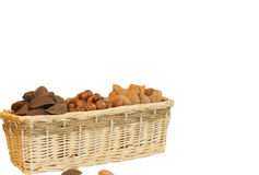 Triple Basket of nuts Stock Photos