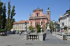 Triple Bridge and Franciscan Church, Ljubljana 2 Stock Image