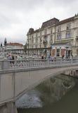 Triple Bridge In Ljubljana, Slovenia Royalty Free Stock Photo