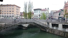 Triple Bridge in Ljubljana Royalty Free Stock Images