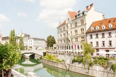 Triple bridge of Ljubljana stock image