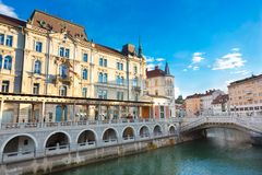 Triple bridge, Ljubljana, Slovenia, Europe. Royalty Free Stock Photo