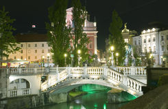 Triple Bridge Ljubljanica River Preseren Square Ljublajana Slove Stock Images