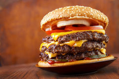 Triple burger Stock Photography