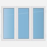 Triple casement plastic window Stock Photo