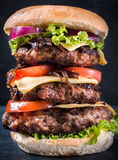 Triple cheesburger Stock Photo
