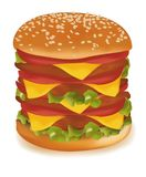 Triple cheeseburger. Royalty Free Stock Photos