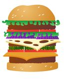 Triple cheeseburger. Triple patty burger with all the fixings, junk food supreme royalty free illustration