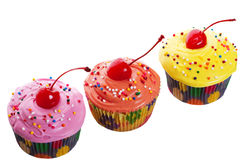 Triple Cherry Cupcakes Royalty Free Stock Photos