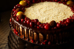Triple chocolate cake decorated with pomegranate, cranberries and small apples. Royalty Free Stock Photography