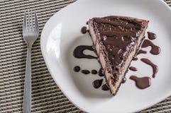 Triple chocolate cheese cake Stock Photos