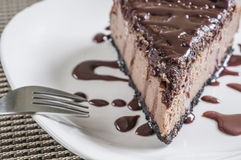 Triple chocolate cheese cake Royalty Free Stock Photo