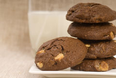 Triple Chocolate Chip Cookies With Milk Royalty Free Stock Images