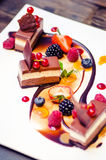 Triple chocolate dessert. With berries- fine cuisine royalty free stock photos